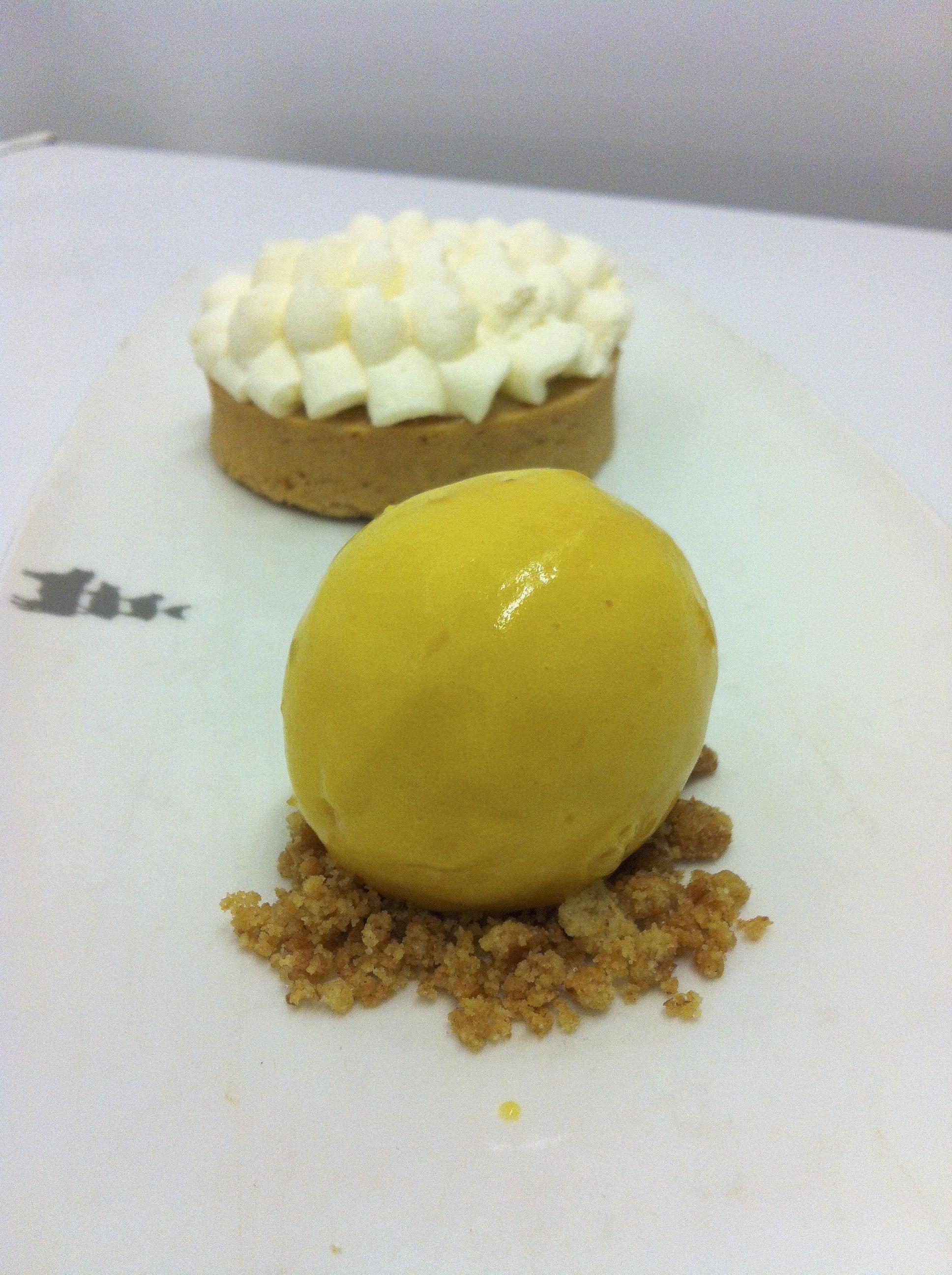 Coconut cream pie with mango ice cream  by Fabio Bardi