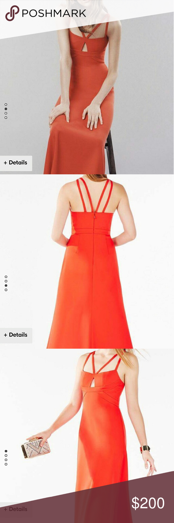 BCBG red/orange dress. Beautiful maxi dress, perfect for weddings , proms you neme it! Only used once for less than 4 hours for my friend's wedding. It already went to the dry cleaner! I accept reasonable offers! BCBGMaxAzria Dresses Wedding