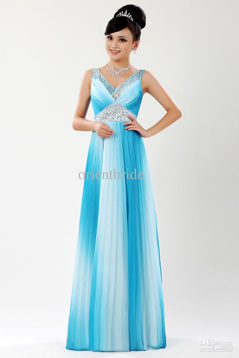 Wholesale Tank V-neck Beaded Empire Waist Floor Length Engagement ...