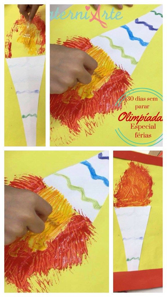 Pintura Com Garfo Da Tocha Olimpica Especial Ferias Com Imagens