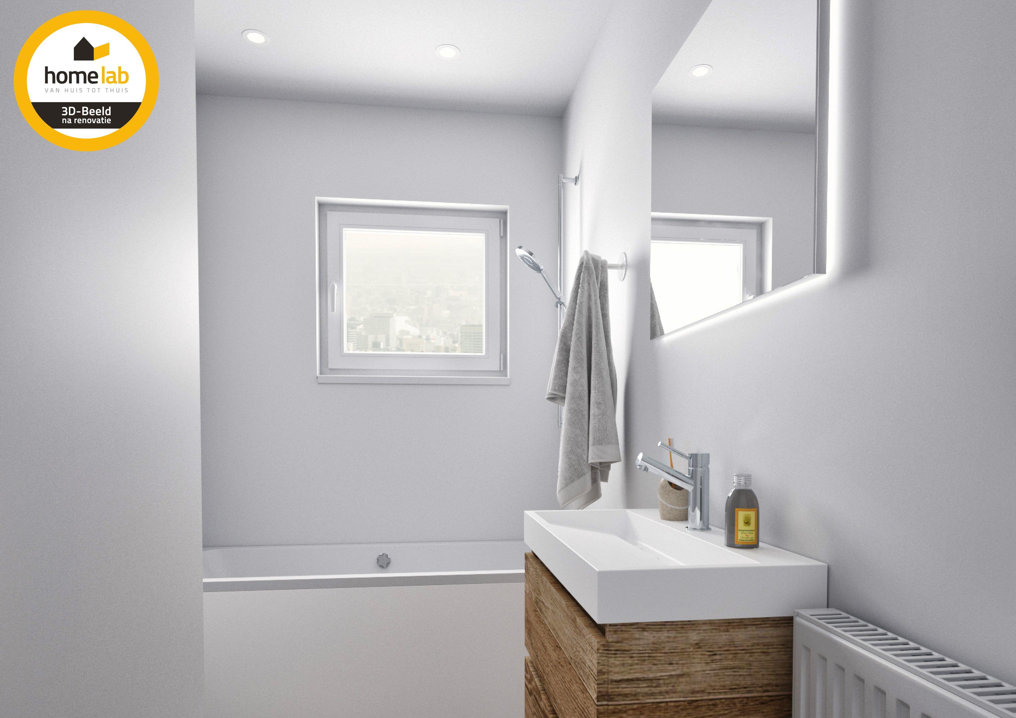 Moderne Witte Badkamer : Moderne witte badkamer met hout afgewerkt homelab