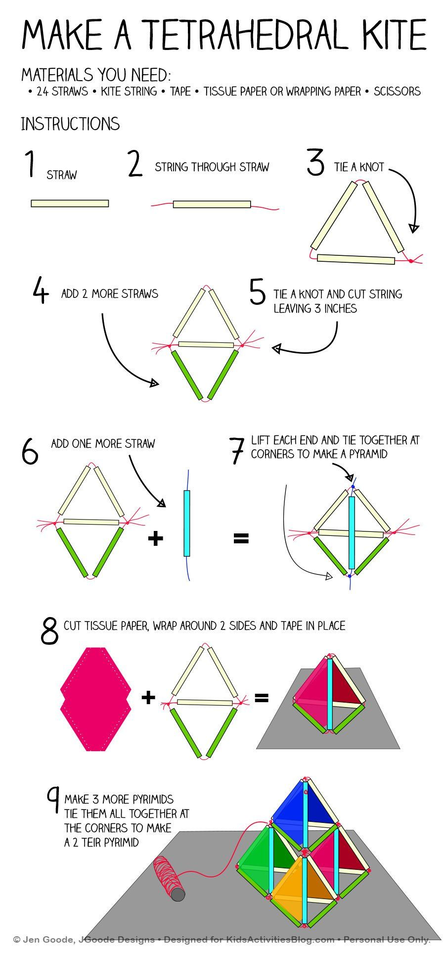 Easy Kitemaking: How to Build a Pyramid Kite | How to build, Kites ...