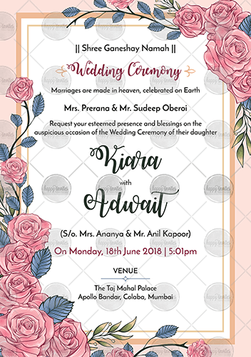 Pink Floral Wedding Invitation Ecard Happy Invites Online Invite Wedding Invitation Card Design Floral Wedding Invitations Invitation Card Design