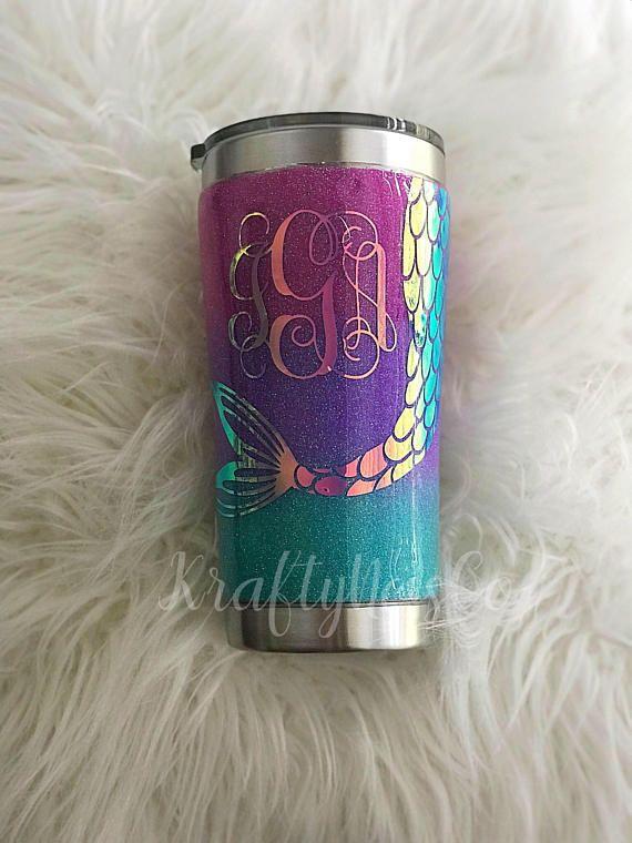 Mermaid Glitter Tumbler Personalized Tumbler Yeti Tumbler - resume yeti