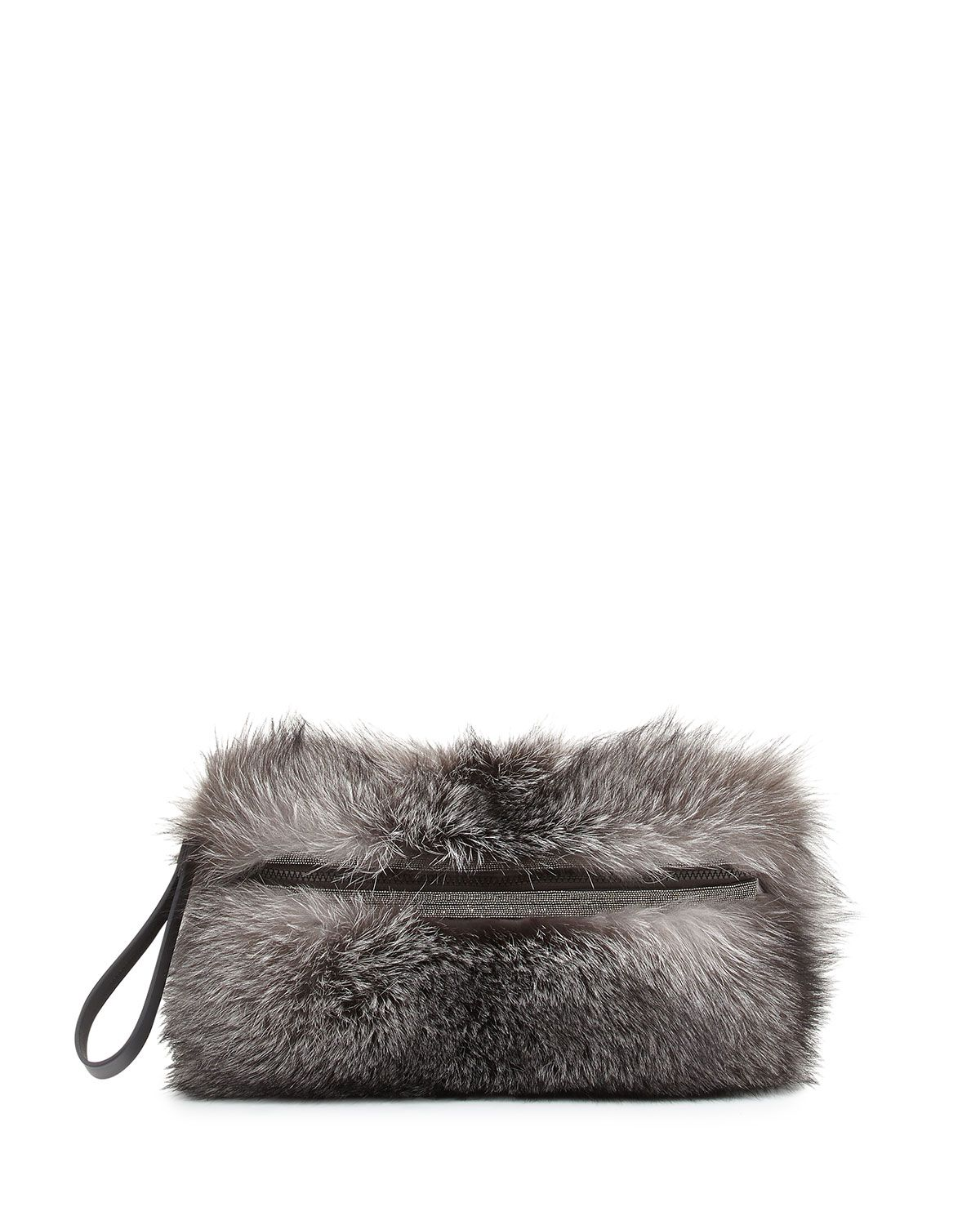Fox Fur Medium Messenger Clutch Bag, Silver, Women's, Size: M - Brunello Cucinelli