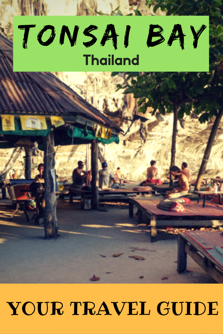 Put Tonsai Bay on your list of places to visit in Thailand. Tonsai Bay is a gorgeous place to relax or if you want to be active, awesome rock-climbing. Relax and take it easy in Tonsai Bay. #thailand #beachlife #southeastasia