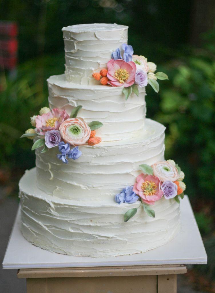 Rustic Buttercream And Sugar Flowers Wedding Cake