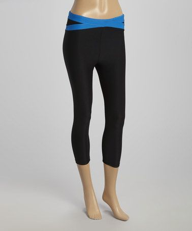 Another great find on #zulily! Black & Electric Blue Crisscross Capri Leggings by ReActivate #zulilyfinds