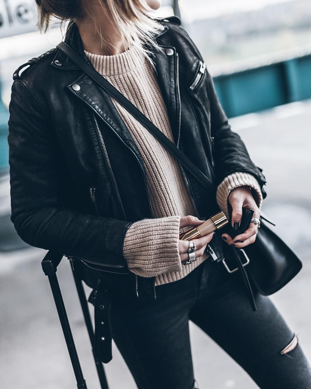 Black Leather Jacket With Oversized Knit Sweater And Trendy Distressed Denim Jeans Moto Jacket Street Style Leather Jacket Outfits Jacket Outfits [ 1349 x 1080 Pixel ]