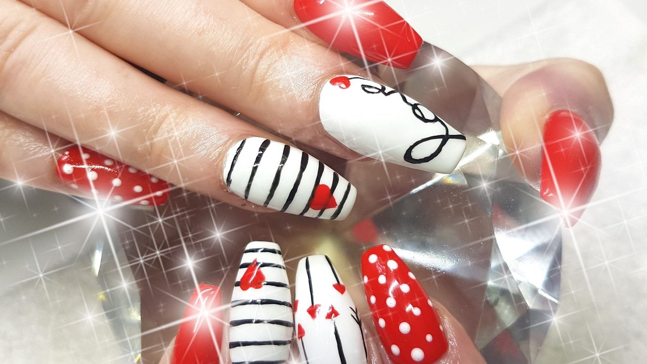 Acrylic Nails Cute Cupids VALENTINES DAY Nail Design YouTube