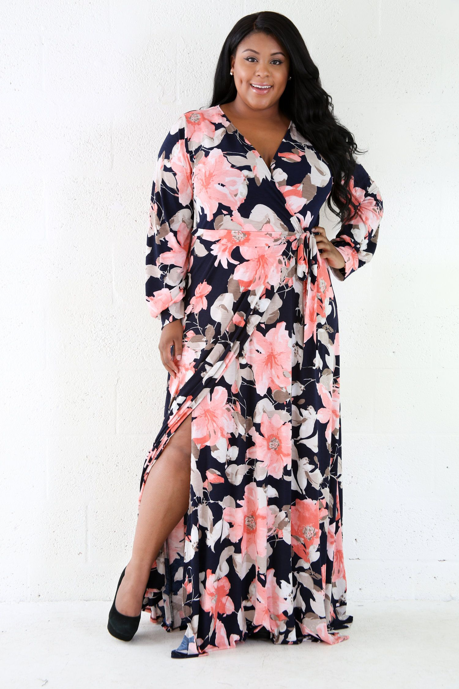 Floral peachy long sleeve maxi dress curves pinterest dresses