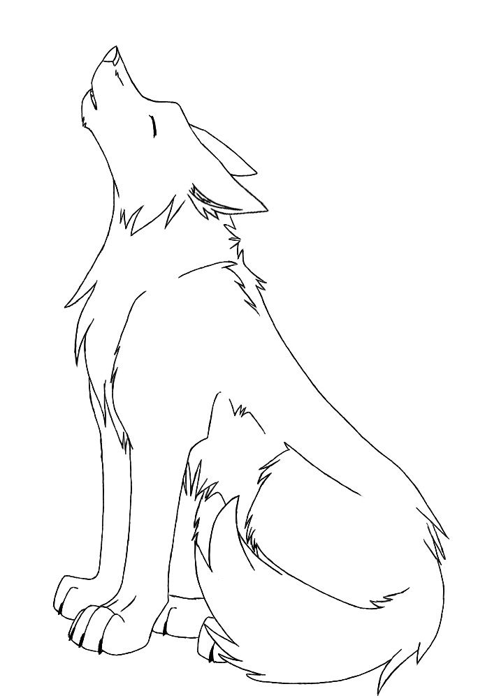 anime wolf howling line art