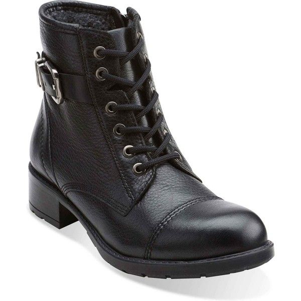 Clarks Women's Swansea Ledge Black Leather Boots (210 CAD) ❤ liked on  Polyvore featuring