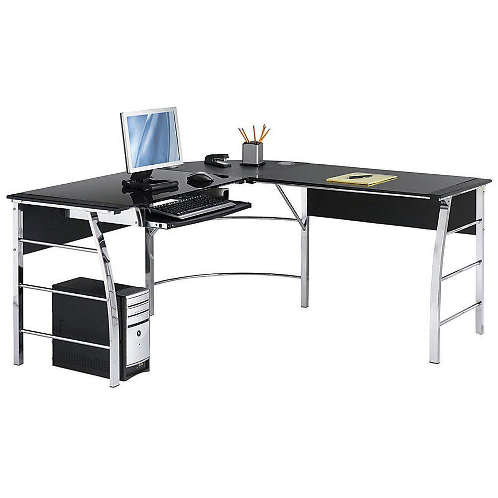 Realspace Mezza L Shaped Glass Computer Desk 30 H X 61 12 W X 61 12 D Blackchrome By Office Depot Glass Computer Desks Glass Desk Office Diy Computer Desk