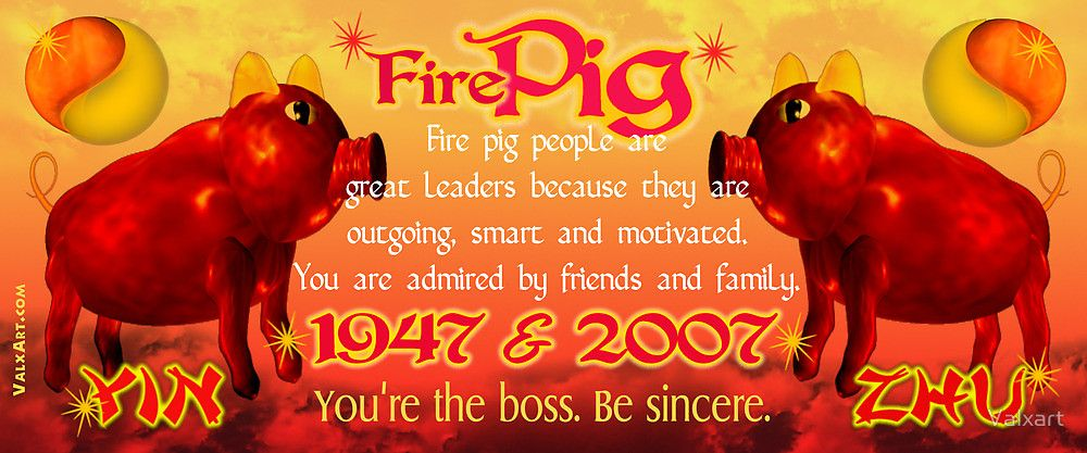 1947 2007 Chinese zodiac born in year of Fire Pig by