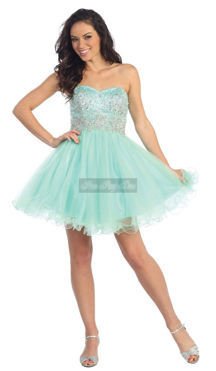 Short Teens Party Dress Light Blue Organza Beaded Puffy Homecoming ...