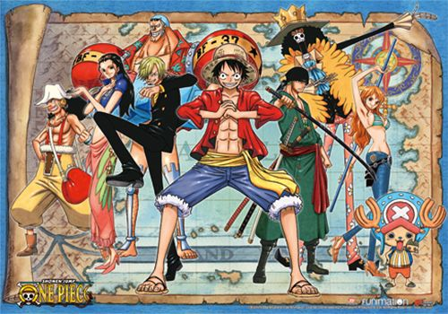 One Piece Fabric Poster New World Luffy Group 2 One Piece New World Fabric Poster Map Background