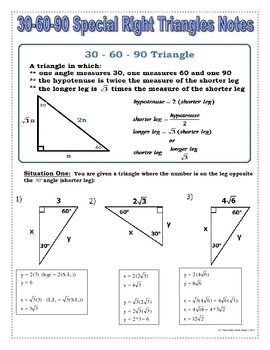 Right Triangles - Special Right Tris. Notes, Practice, Task ...