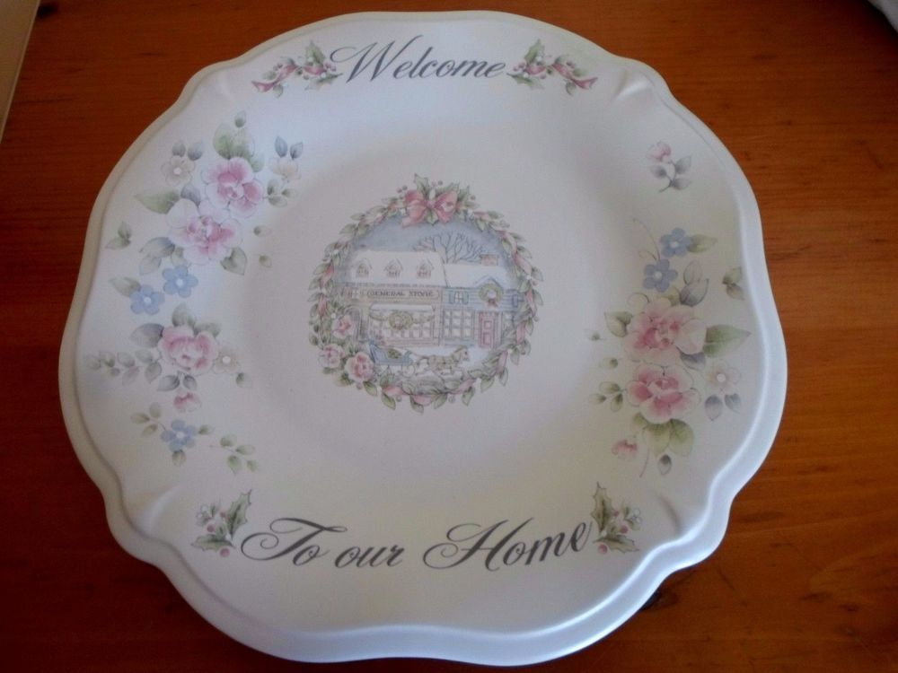 pfaltzgraff tea rose holiday christmas welcome to our home plate serving dish in pottery u0026 glass - Pfaltzgraff Patterns