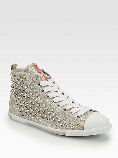 sneakers. Prada - Studded Glitter