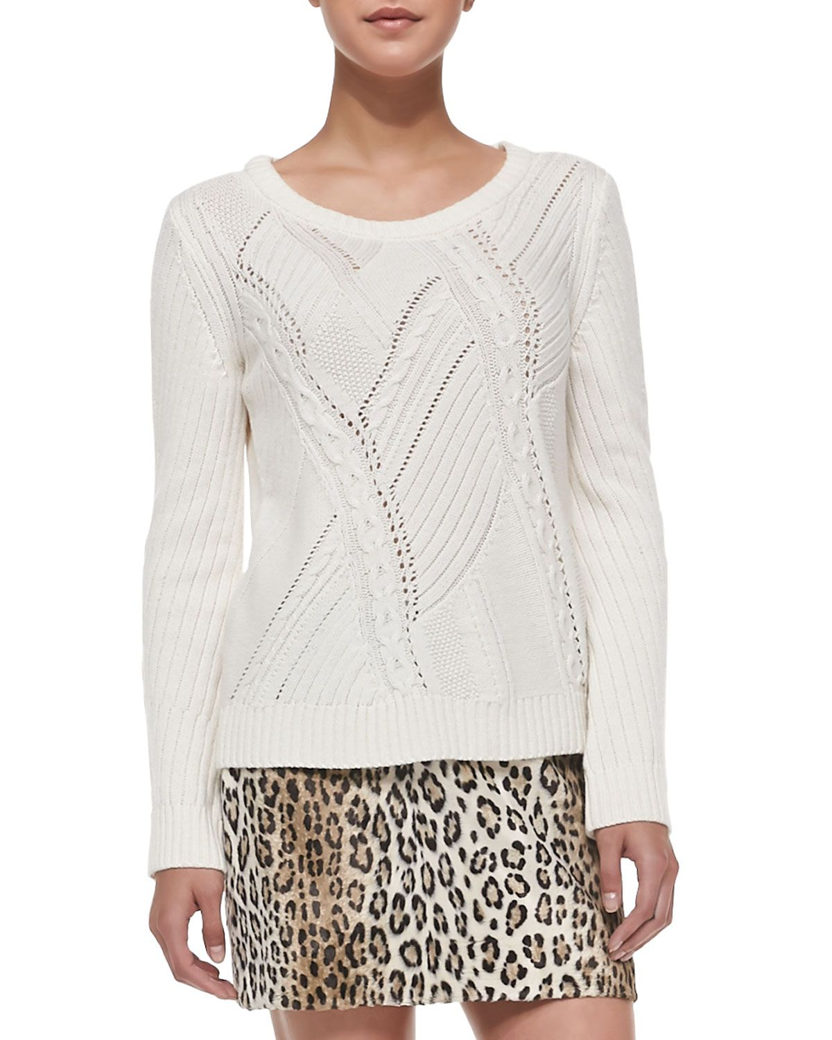 Perforated/Cable-Knit Sweater, Women\'s, Size: L, Ivory - Milly ...