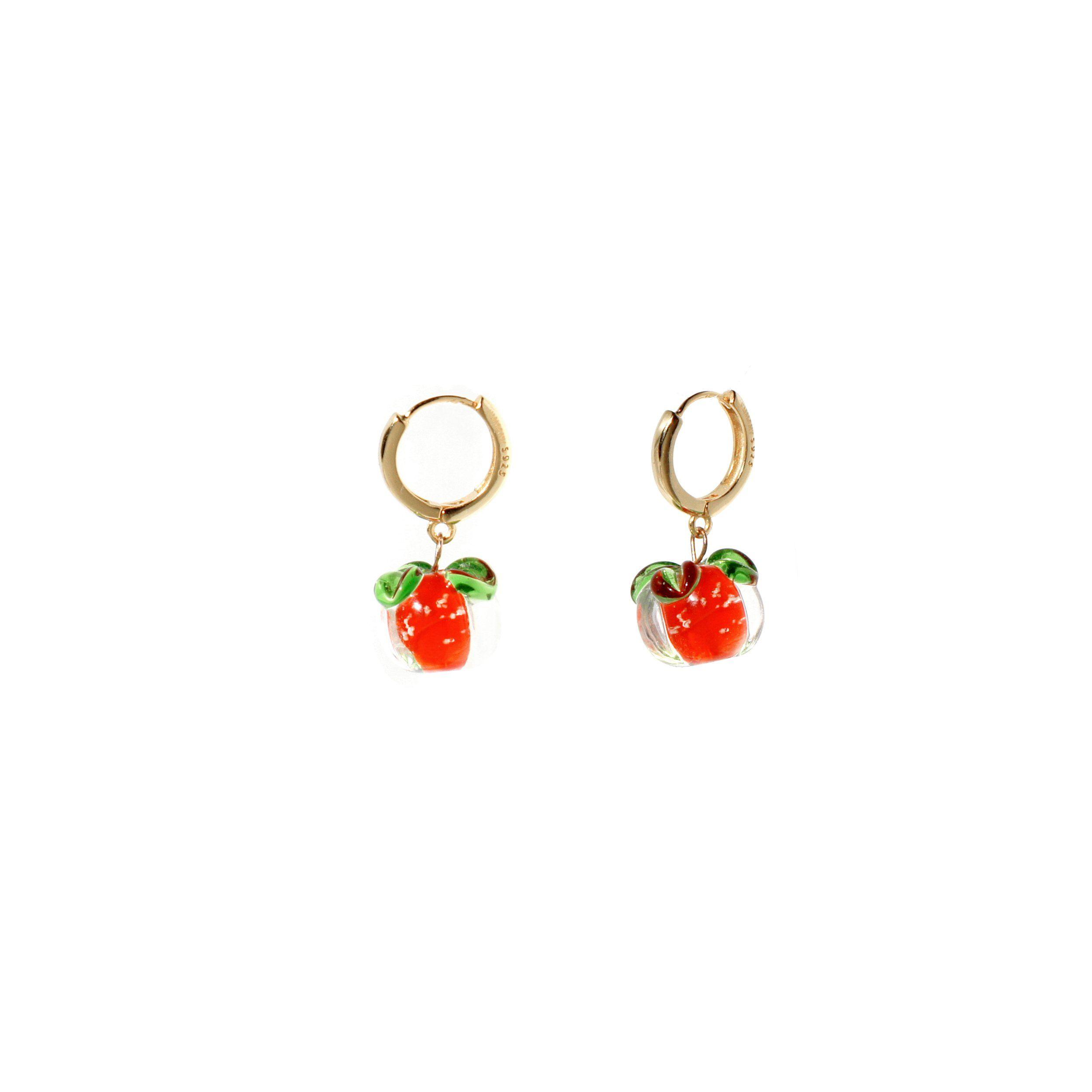 Tomato Salsa Huggie Hoop Earrings, 18K Gold Vermeil – Gift Packaging