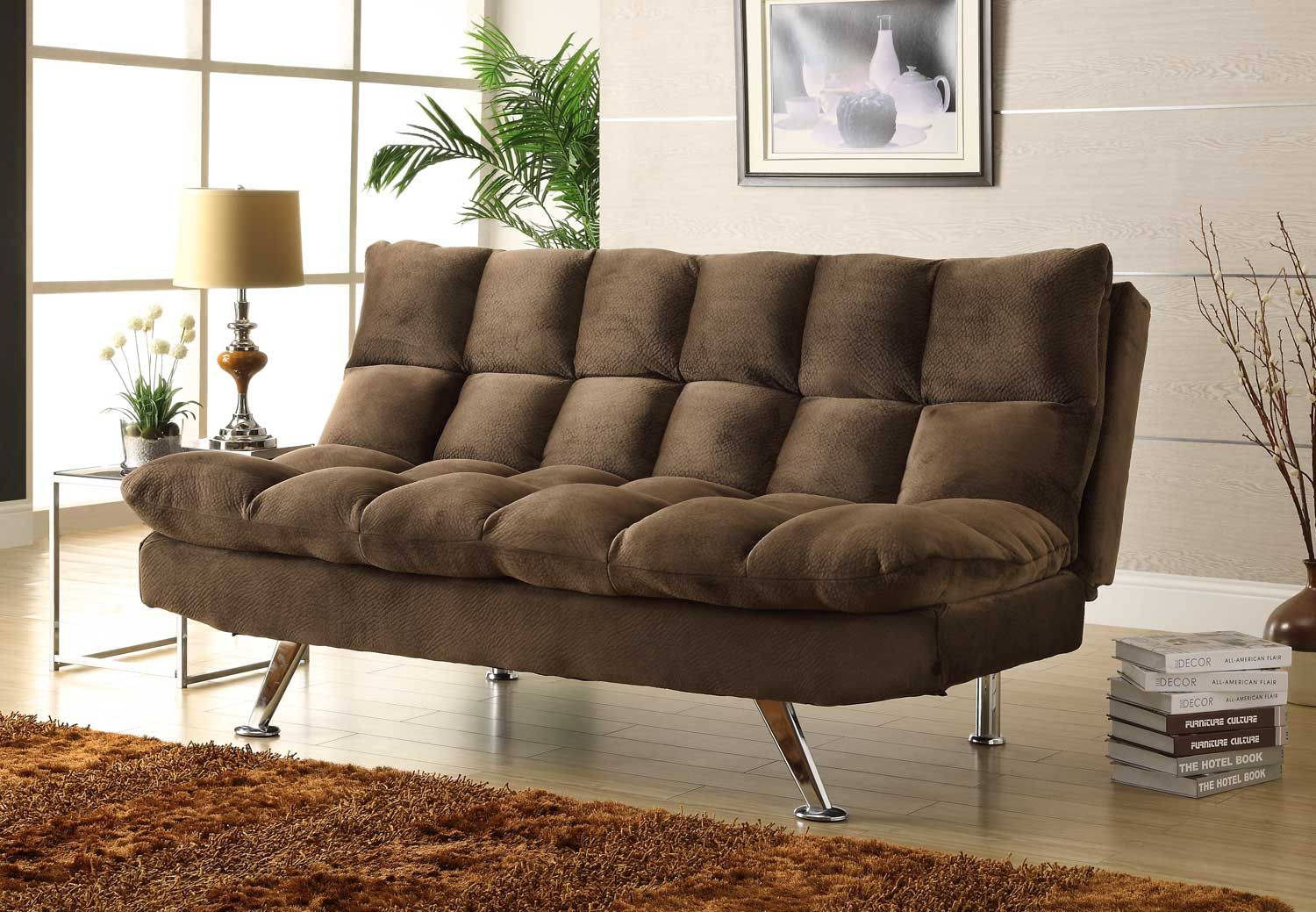 Homelegance jazz click clack sofa bed chocolate textured plush microfiber price 459 00