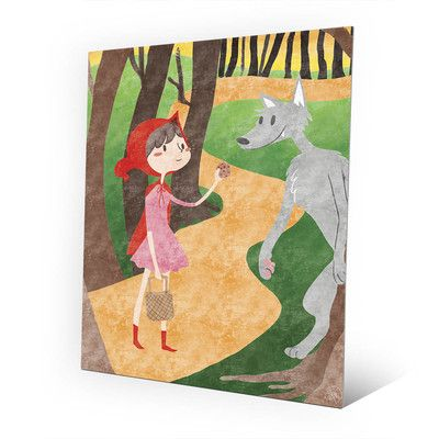 "Click Wall Art 'Little Red and Wolfy' Graphic Art on Plaque Size: 30"" H x 20"" W x 0.04"" D"