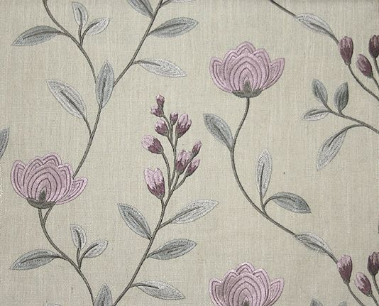 Embroidered Linen Curtain Fabric Lilac Floral Drapery Fabric Cuadros Bordado