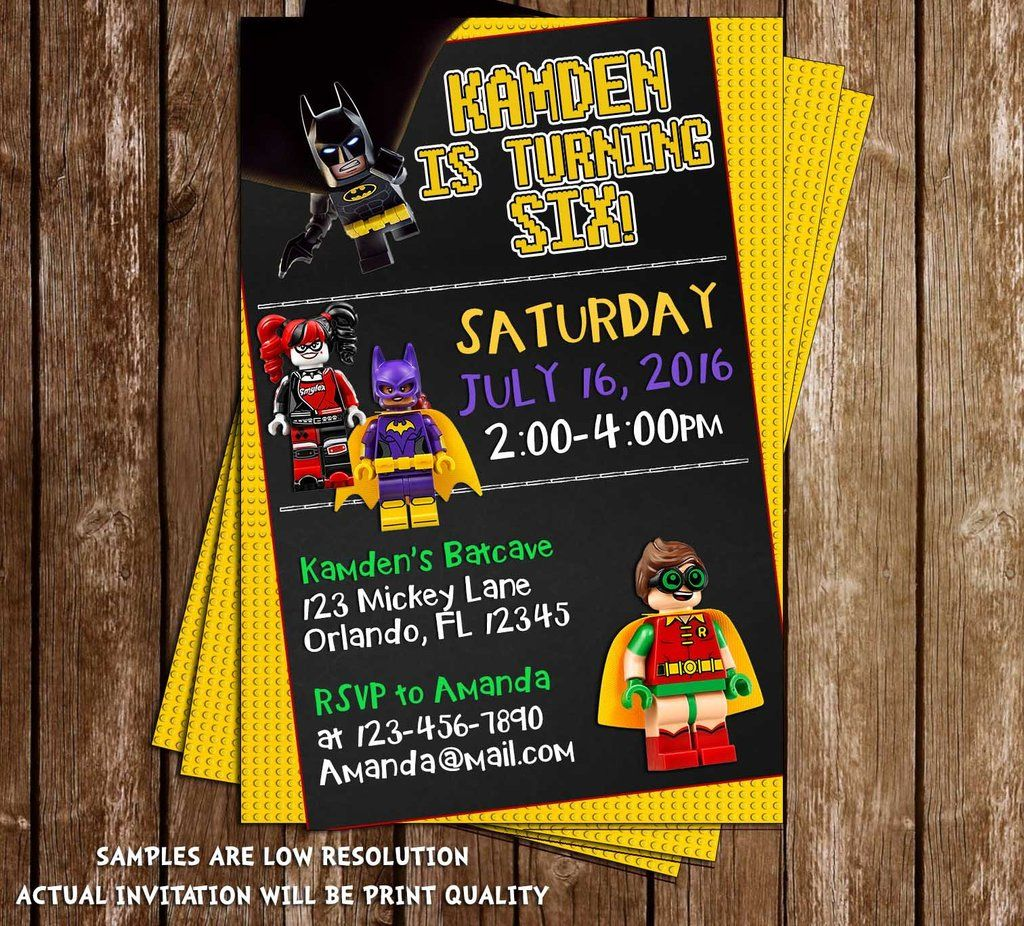 Lego Batman - The Movie - Birthday Party Invitation | Lego batman ...