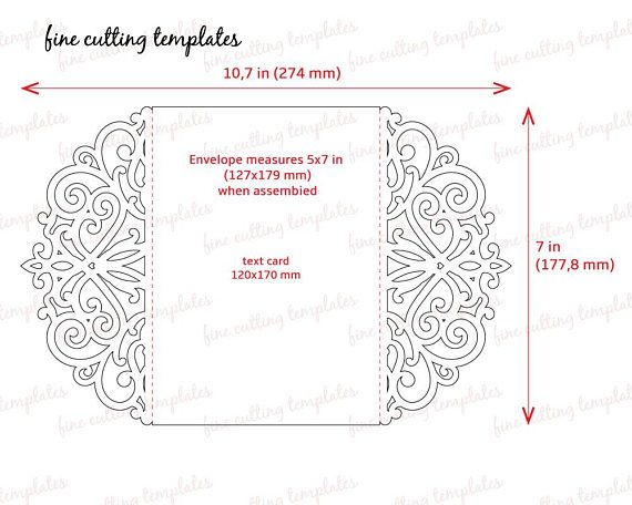 Wedding Invitation 5x7 card template for cutting. Cutout paper