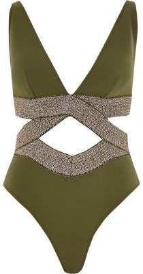 00ba0702e6ec5 Petite khaki metallic elastic plunge swimsuit - Swimsuits - Swimwear ...