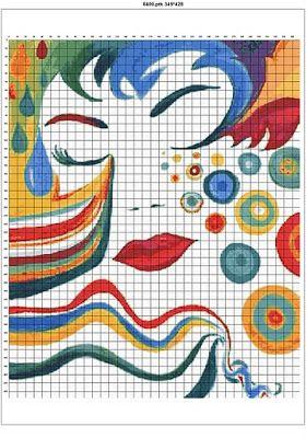Los Graficos Del Gato Chica Abstracta Cuadros Punto De Cruz Punto De Cruz Con Cuentas Bordados En Punto Cruz