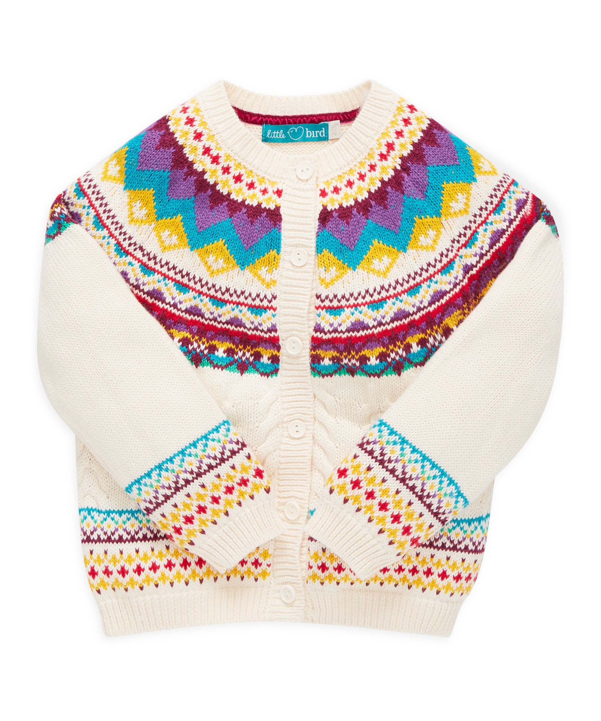 Little Bird by Jools Knitted Fairisle Cardigan | Bird and Kids ...