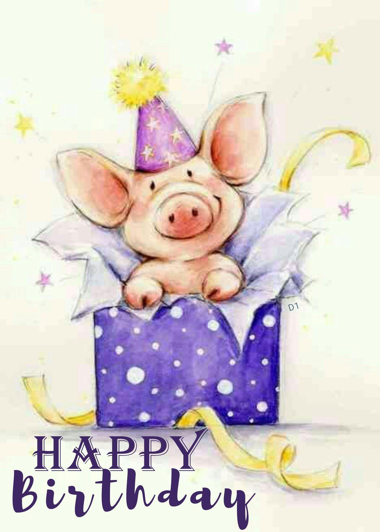 Happy Birthday Happy Birthday Cards Birthday Illustration Happy Birthday Pig