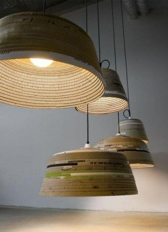 michael wolke: cardboard lamp  German designerMichael Wolke creates this amazing line of recycled pendant lighting. HisBeute Lampis hand-made from discarded cardboard  Available in two sizes; the small (40 cm by 30 cm) and large (60 cm by 30 cm).