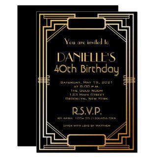 Gatsby Birthday Invitations Zazzleconz Art Deco Invites