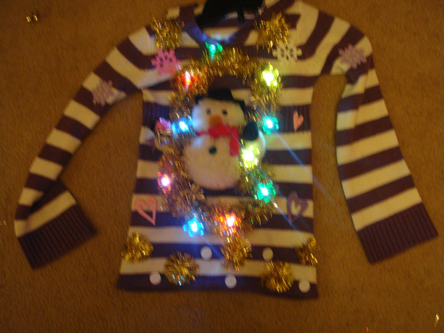 LIGHTS UP Deb's Ugly Tacky Christmas Sweater girls small 7 8 purple snowman child by keriblue4 on Etsy