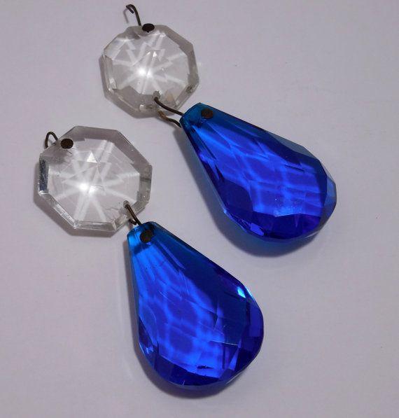 Pair antique deep ocean blue chandelier crystals by beadgarden55 pair antique deep ocean blue chandelier crystals by beadgarden55 mozeypictures Gallery
