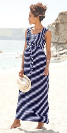 60d63630c4 JoJo Maman Bebe - Navy Breton Maternity   Nursing Maxi Dress -  maternity   fashion  maternity  spring