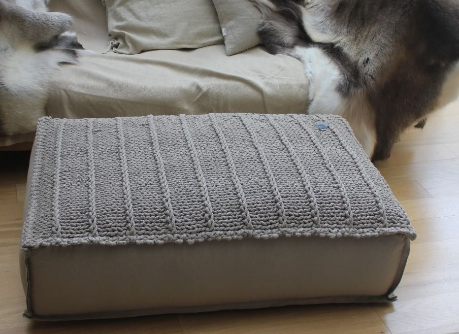 extra large rectangular pouf cotton canvas base with hand knitted top taupe or dark grey. Black Bedroom Furniture Sets. Home Design Ideas