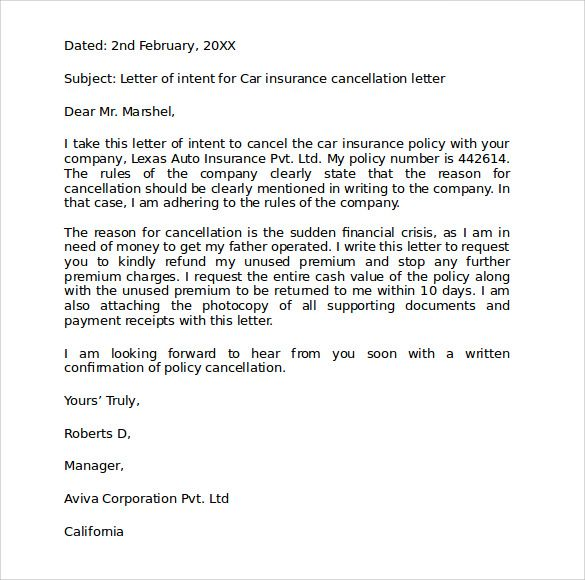 car insurance cover letter samplebusinessresume cancel policy - refund policy