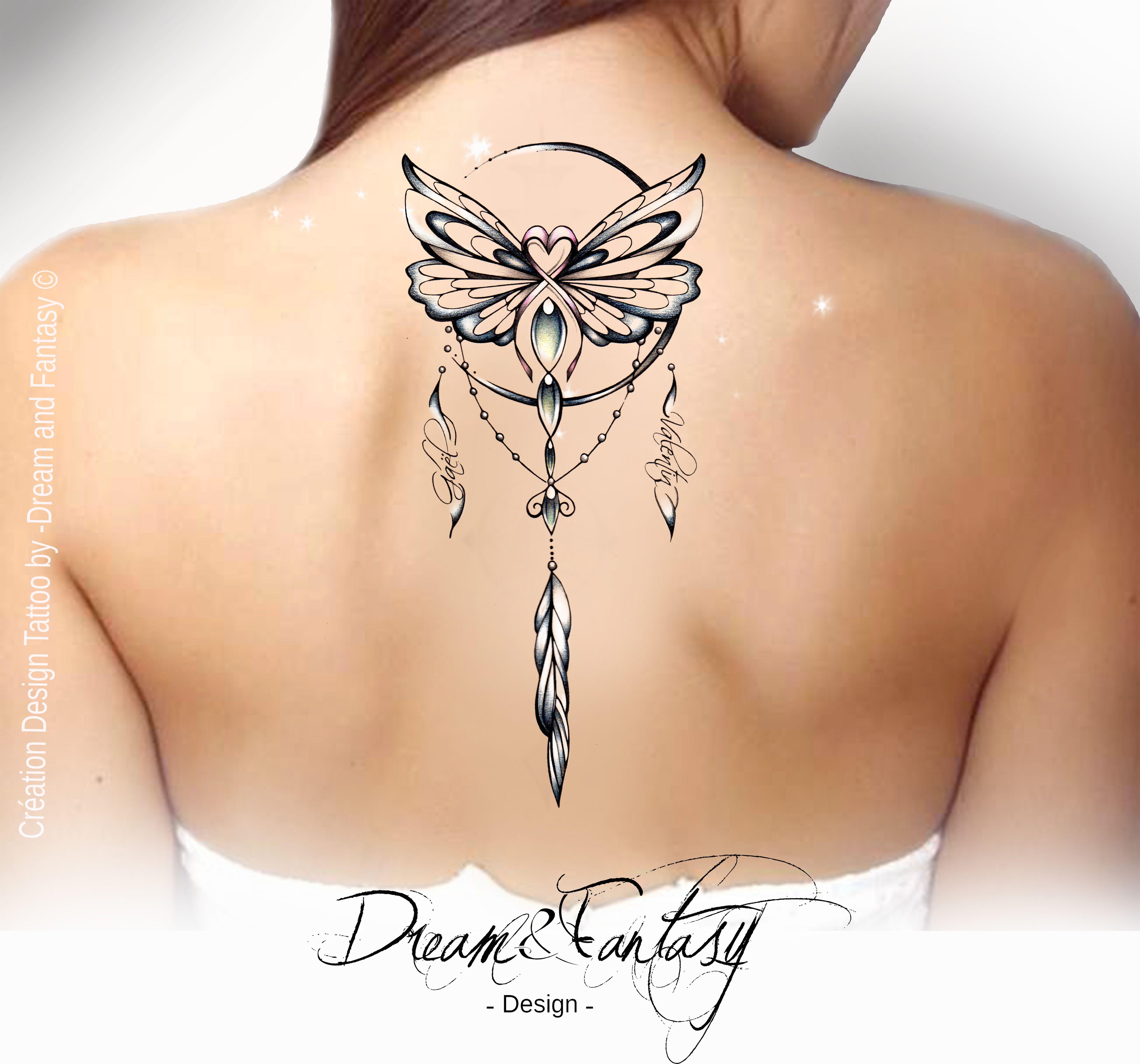 Design Tattoo Papillon Cancer Dreamcatcher Attrape Reve