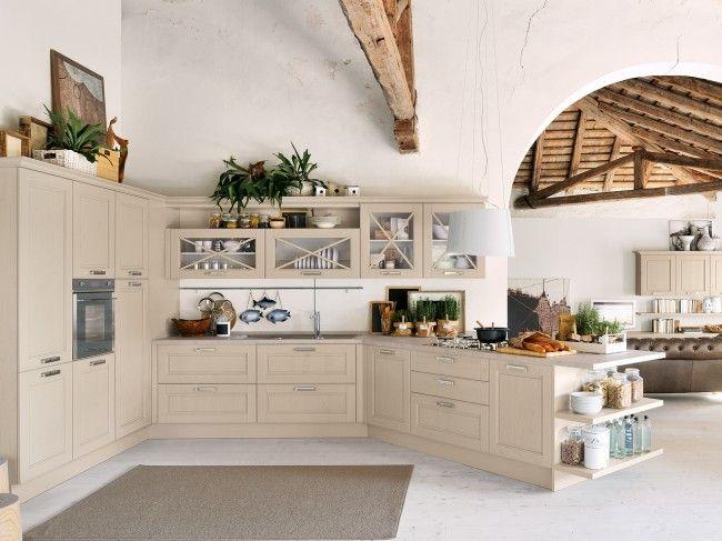 Rustikale Küche-Edelweiß Schranktüren-Holz Sichtbare-Deckenbalken