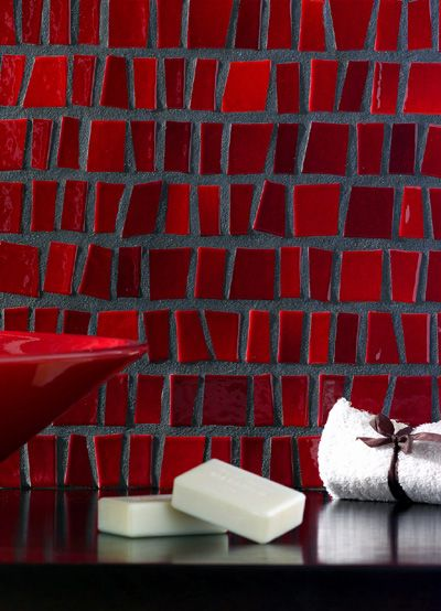 Toki Irregular Tiles Dark Grout Academy Via The Company Site Bathroom Red
