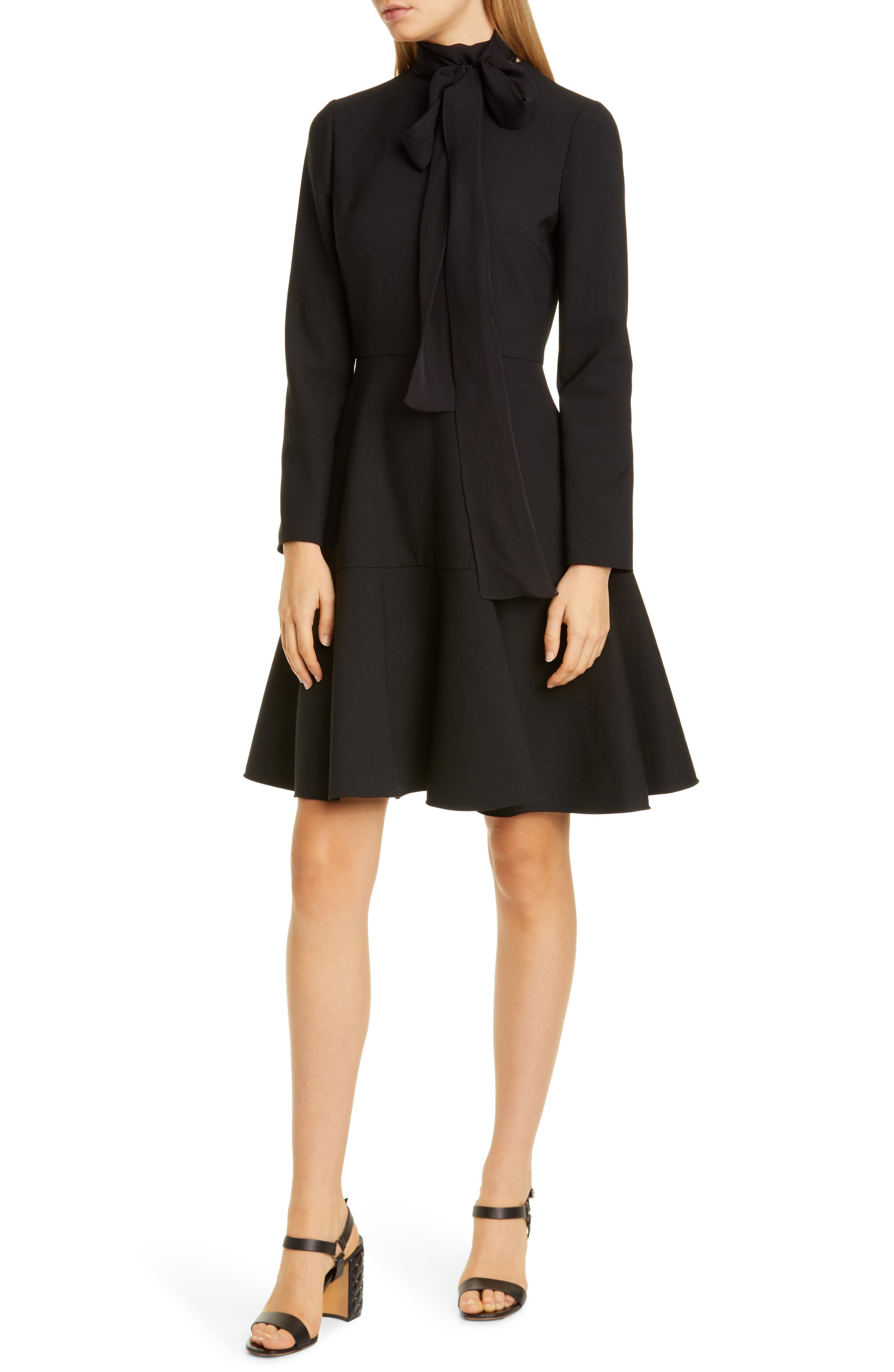 Valentino Tie Neck Long Sleeve Fit Flare Dress Nordstrom Long Sleeve Mini Dress Fashion Clothes Women Fit Flare Dress [ 4048 x 2640 Pixel ]