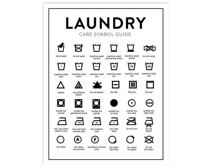 Laundry Care Guide, Laundry Symbols Chart, Calligraphy Art