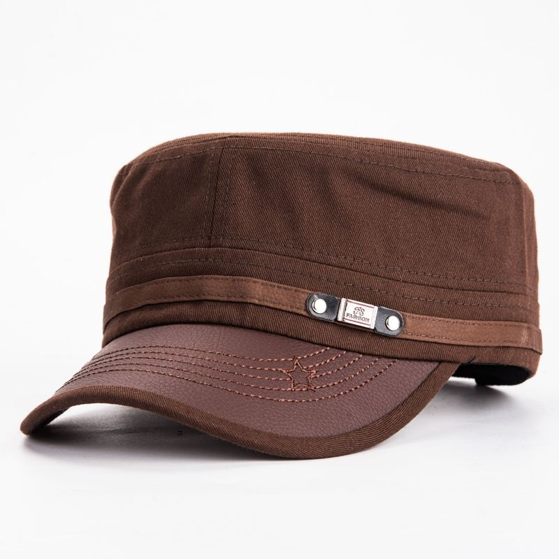 2bebb9b07821b1 100% Cotton Classic Army Hat Vintage Military Cadet Hat Fitted Flat Hat  Adjustable Twill Corps