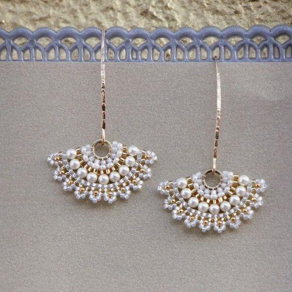Pearl wedding earrings, Swarovski pearl earrings, white earrings, Gold wedding…