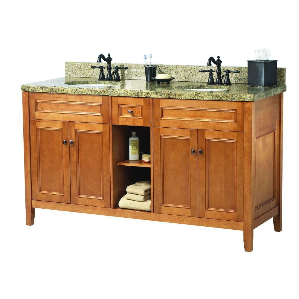 D Double Bath Vanity In Rich Cinnamon With Granite Top Quadro